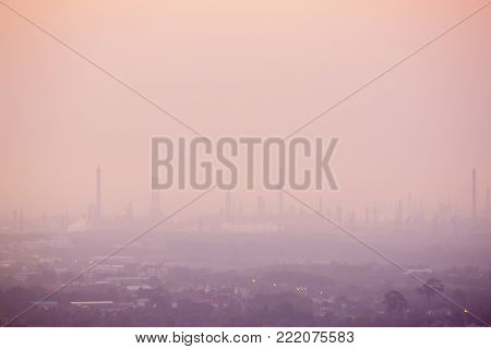 Landscape View Of City With Industrial Estate Maptaphut Rayong Thailand On Morning Time With Ping To