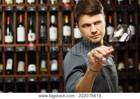Bokal of red wine on background of male sommelier appreciating color, quality, flavor and sediments of drink. Professional degustation expert in winemaking.