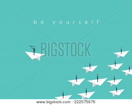 Stand out from the crowd, be yourself business concept. Symbol of vision, talent, individuality, unique skills, success. Eps10 vector illustration.