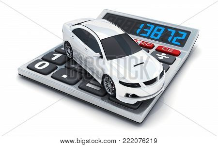 Calculator and white small car on white background. 3d illustration