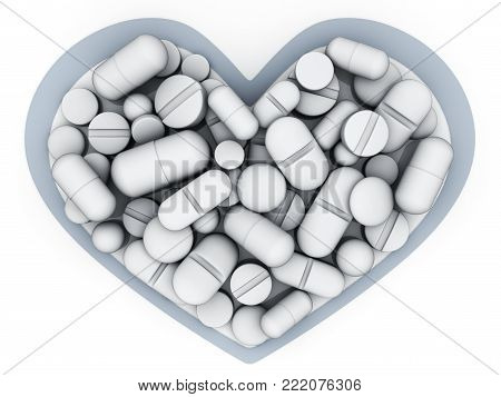 Many tablets and vitamins in shape heart on white background. 3d illustration
