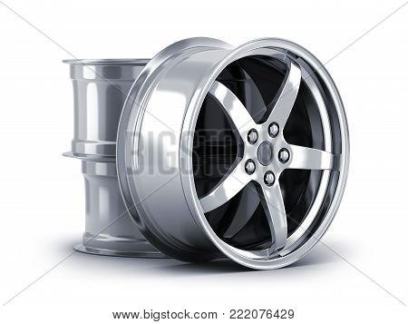 Three car disc on white background. 3d illustration