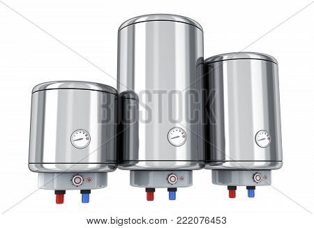Three water boilers on white background. 3d illustration