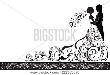 Silhouette of the groom and bride, wedding invitation