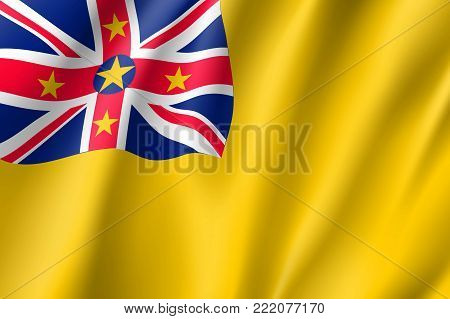 Niue realistic flag. Patriotic symbol in official country colors. Illustration of Oceania state flag. Vector icon