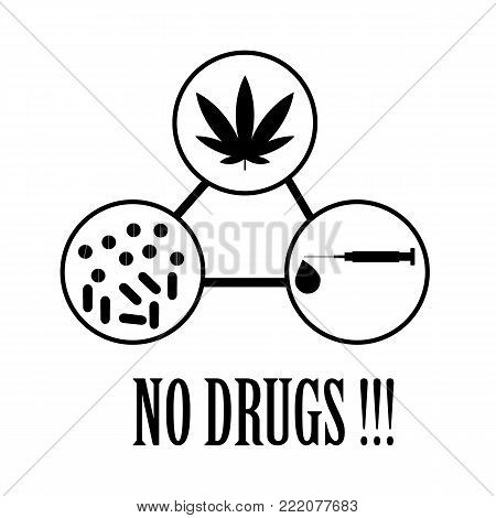No drugs Icon and vector on a white background