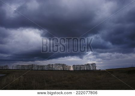 dark and dark blue sky on the background of autumn field with trees. cool mood and atmosphere of sadness. the manifestation of depression.