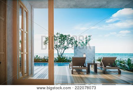 Sea view swimming pool in modern loft design,Luxury ocean Beach house, 3d