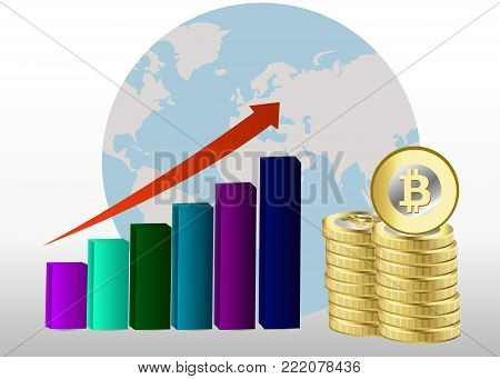Bitcoin growth concept. Bitcoin revenue illustration. Stacks of gold coins like income graph with bitcoin.