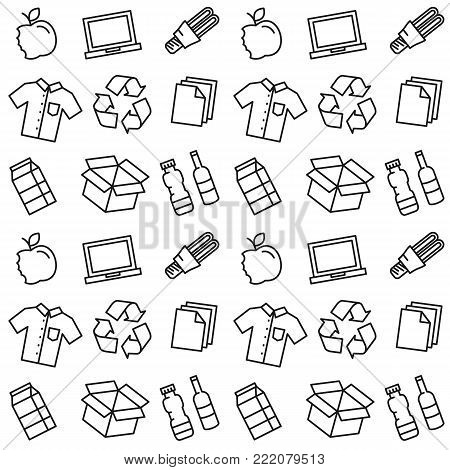 Recycle things vector illustration. Recyclable goods clothes, lamp, cardboard box, electronics, bottles, food, paper, packaging line art pattern with recycle sign on the background.