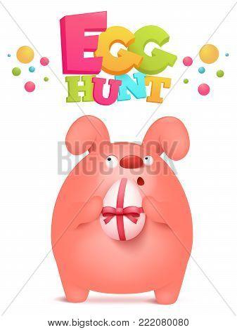 Egg hunt invitation card with pink bunny holding egg gift Vector illustration