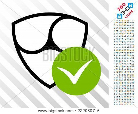 Nem Validation pictograph with 7 hundred bonus bitcoin mining and blockchain symbols. Vector illustration style is flat iconic symbols design for crypto-currency websites.