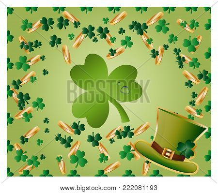 Greeting card of St. Patrick with sparkling green leaves of clover, gold coins, green hat and with green clover leaf consisting of circles