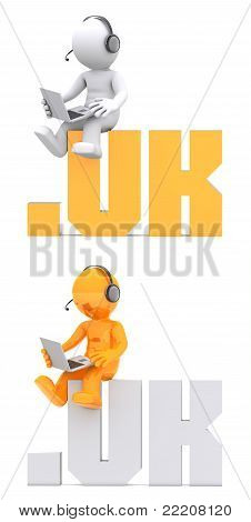 3D Character Sitting On .uk Domain Sign.
