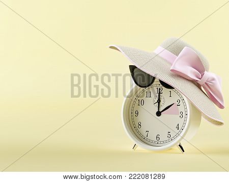 clock changing from winter to summer time. 3d rendering
