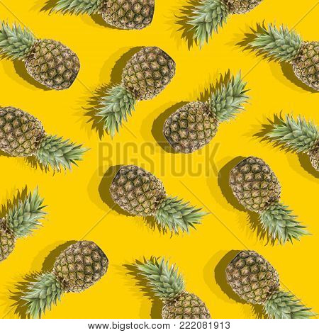 illustration in the form of yellow background with image of ripe pineapples