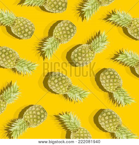 Yellow background with image of ripe pineapples