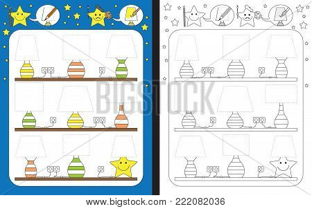 Preschool worksheet for practicing fine motor skills - tracing dashed lines of lamp shades