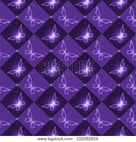 Glowing background with magic  butterflies .Transparent butterfly on purple background.