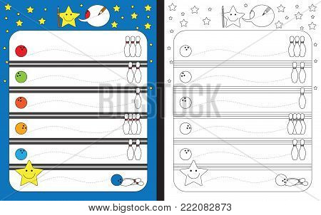 Preschool worksheet for practicing fine motor skills - tracing dashed lines from bowling balls to bowling pins