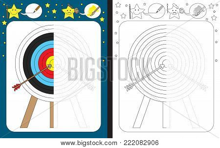 Preschool worksheet for practicing fine motor skills - tracing dashed lines - finish the illustration of archery target