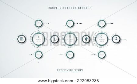 Vector Infographic 3d circle label, template design. Business concept, Infograph with 3 number options, steps or processes. Infographic element used for layout, process diagram, parts, chart, graphic, info graph