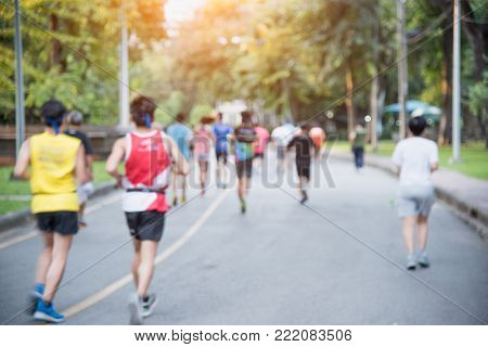 Blurr healthly people running or jogging exercise morning in park, Healthly concept.
