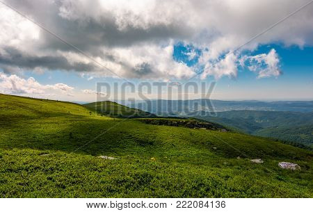 grassy meadows of Runa mountain. beautiful summer landscape on a cloudy day