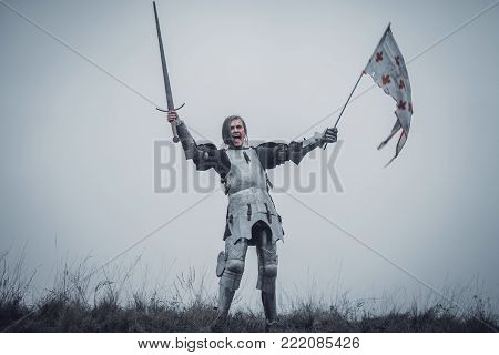 Girl in image of Jeanne d'Arc stands in armor and issues battle cry with sword raised up and flag in her hands against background of sky and dry grass.