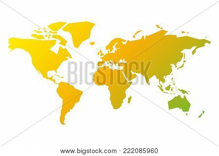 Simplified silhouette of World map in yellow-green gradient. Vector illustration isolated on white background.