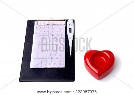 RX prescription, Red heart, medical thermometer on white background.