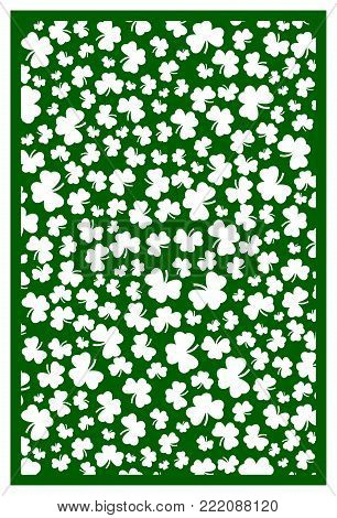 Vector Laser cut St. Patrick's Day Template with shamrock. Stock vector. Luck symbol.