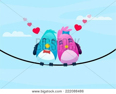 birds on wire in love hugs each other with hearts. isolated on sky blue background. vector illustration. cartoon art. greetings card concept