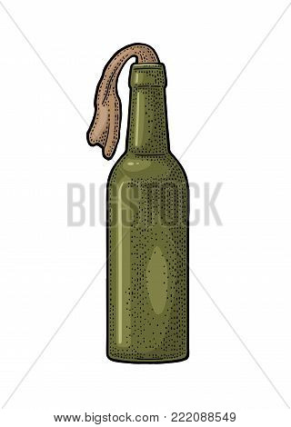 Molotov Cocktail. Glass bottle with gasoline and rag wick. Engraving vintage vector color illustration. Isolated on white background. Hand drawn design element for label and poster