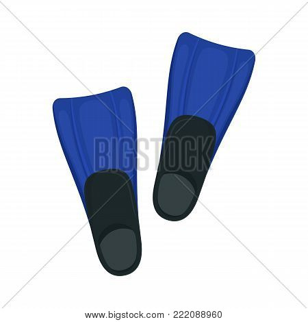 Flippers on white background, cartoon illustration of beach accessories for summer holidays. Vector