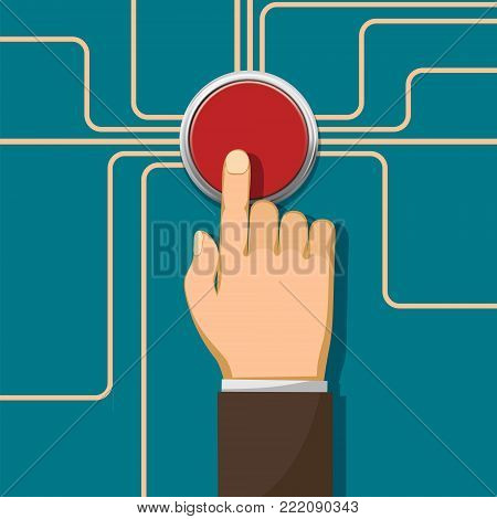 Human hand push on the red button. Stock vector flat style graphics illustration.