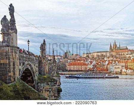 Wonderful view of Prague Castle, St. Vitus Cathedral, Charles Bridge and the Vltava River from the side of the old lookout tower in Prague (Czech Republic)