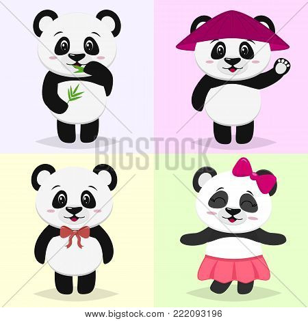 A set of illustrations of a cute panda character in a cartoon style. With bamboo in his paw, in a pink hat, with a red bow, in a pink skirt and a bow on his head against a light background. Vector, flat design.