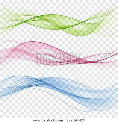 Set of abstract color wave. Color smoke wave. Transparent color wave. Blue, pink, orange, red color. Wavy design