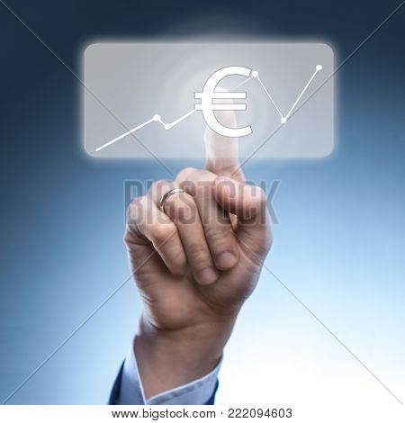 Businessman touched euro currency icon
