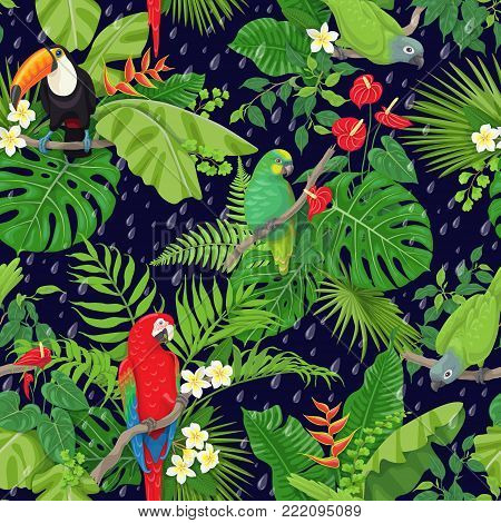 Seamless pattern with tropical birds leaves and falling rain drops on dark background. Colorful parrots and toucan sitting on branches. Tropic rainforest foliage texture. Vector flat illustration.