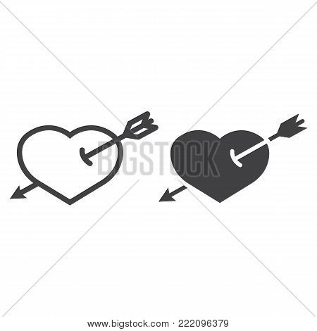 Heart Pierced with Arrow line and glyph icon, valentines day and romantic, love sign vector graphics, a linear pattern on a white background, eps 10.