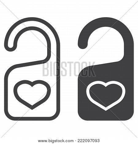 Do not disturb with heart line and glyph icon, valentines day and romantic, door hanger sign vector graphics, a linear pattern on a white background, eps 10.