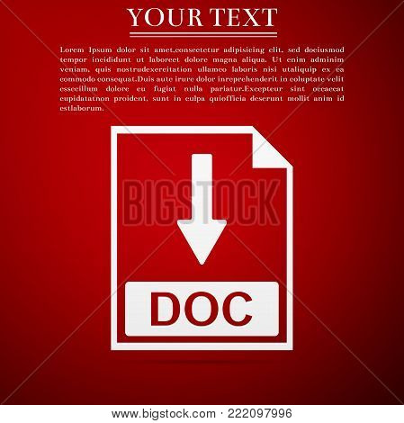 DOC file document icon. Download DOC button icon isolated on red background. Flat design. Vector Illustration