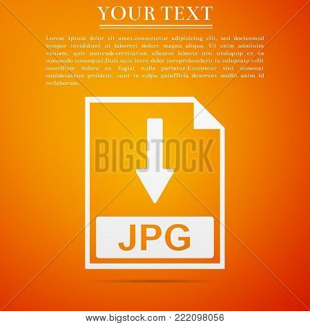 JPG file document icon. Download JPG button icon isolated on orange background. Flat design. Vector Illustration