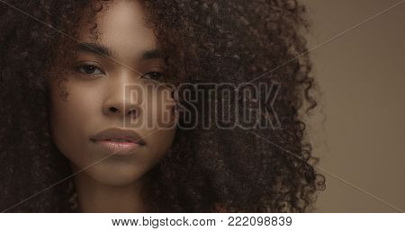 mixed race black woman portrait with big afro hair, curly hair in beige background. Face closeup with ideal skin. Natural makeup