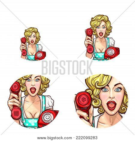 Vector pop art round icons set for user profile social net avatar, woman holding out phone handset receiver in hand. Happy surprised blonde girl in retro dress asking to take phone, isolated