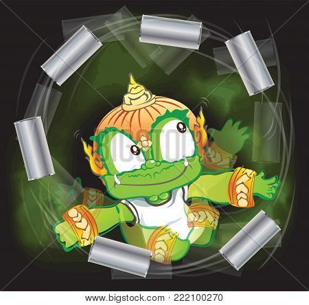 Thai giant throwing soft drink cans vector cartoon acting character design background isolate has clipping paths.
