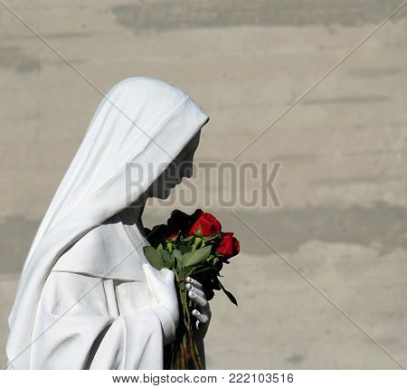Statue of Mary Mother of God holding red roses with grey background and copy space.