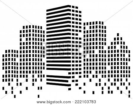 Abstact city of skyscrapers. Silhouette of megacity. Vector background